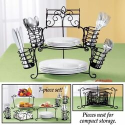 7 PC Serving Buffet Caddy Dinner Party Utensil Plates Napkins Organizer Stand