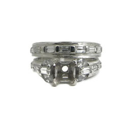 Baguette Marquise Diamond Platinum Engagement Ring Setting Mounting Set .90 CTW