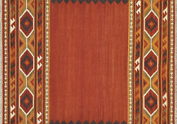 7'x9' Loloi Rug Isara Wool Red Gold Flat Weave Traditional Design