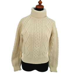 Auth CHANEL CC Fisherman Turtleneck Sweater Ivory 100% Wool #38 Vintage GS00242