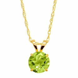 1 ct Natural Peridot Round-Cut Solitaire Pendant in 10K Gold 18