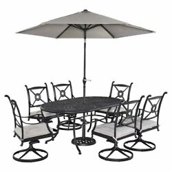 Home Styles Athens Cast Aluminum 7 Piece Oval Patio Dining Set with Optional