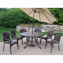 Oakland Living Stone Art All Weather Wicker Patio Dining Set - Seats 6