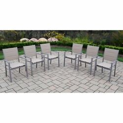 Oakland Living Padded Sling Aluminum Stackable Patio Dining Chairs Champagne