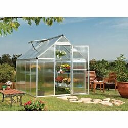 Walk in Outdoor Vented Greenhouse w 4 mm twin-wall Aluminum Frame 6
