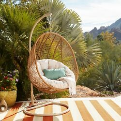 Swinging Wicker Chair Egg Outdoor Patio Furniture Reading Garden Seating Cushion