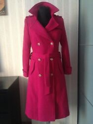 Auth Iconic CHANEL Fuchsia Tweed Wool CC Buttons Stylish Belted CoatJacket FR36