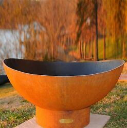 Fire Pit Art 36-in W Iron Oxide Patina Steel Wood-Burning Fire Pit Home Outdoor