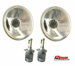 1 PAIR 7quot; ROUND H6024 H6017 H4 CONVERSION HEADLIGHT H4 LED WHITE BULBS HL7LF $59.89