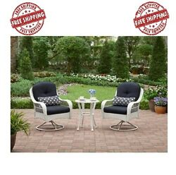 French Bistro Set 3 Pc Deck Garden Wicker White Outdoor Furniture Patio Small