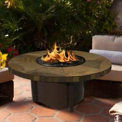 American Fire Products Carmel Chat Height Round Tile Top Gas Fire Pit