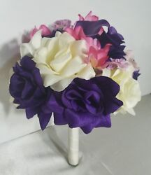 Purple Pink Rose Orchid Calla Lily Bridal Wedding Bouquet & Boutonniere