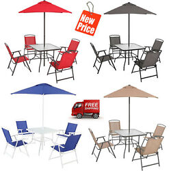 6 Piece Furniture Dining Set Of 4 Folding Chairs Table Umbrella Outdoor Garden