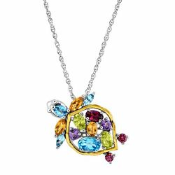 2 12 ct Natural Multi-Stone Turtle Pendant in Sterling Silver & 14K Gold