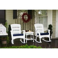 Outdoor Patio Furniture 3 Piece Set Rocking Chairs Table White Resin Pool Garden