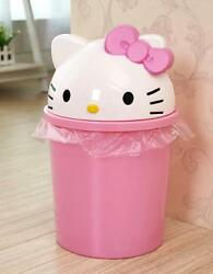 Cute For Hello Kitty 13quot; Height Home Trash Can Waste Garbage Bin Wastebaske​ts $21.98
