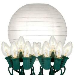 White 10 in. Decorative 10-Light Paper Lantern with Electric String Lights