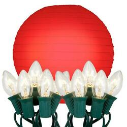 Lumabase Red 10 in 10-Light Decorative Paper Lantern with Electric String Lights