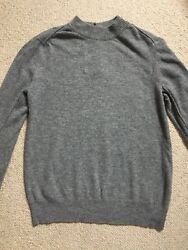 TOAST LAMBSWOOL BUTTON BACK JUMPER SIZE 10 MID GREY MELANGE SEAM DETAILS