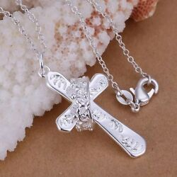 "Womens 925 Sterling Silver Crown Ring Cross Jesus Pendant Necklace 18""  N43"