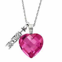 10 ct Created Pink Sapphire Mom Heart Charm Pendant with Diamond in Silver
