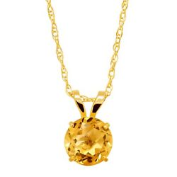 58 ct Natural Citrine Round-Cut Solitaire Pendant in 10K Gold 18