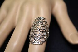 Large Filigree and Flower Sterling Silver Ring Boho Frilly Statement Ring