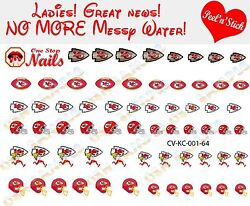 Kansas City Chiefs Clear Vinyl PEEL and STICK Nail Decals NOT WATERSLIDE