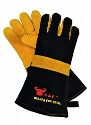 G & F 8115 Premium Grain Leather Gloves Bbq Gloves Grill Gloves Fireplace