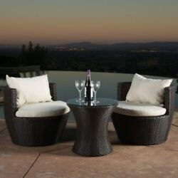 Outdoor Patio Furniture Brown Wicker 3-Piece Chat Set W Cushions For Garden