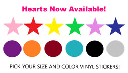 Star Circle or Heart Shape Stickers Die Cut Vinyl Decal Pick Size and Co