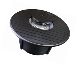 Hiland F-1350-FPT Extruded Aluminum Round Slatted Fire Pit Large Black Includ