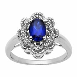 1 ct Created Sapphire Ring with Diamond in Sterling Silver