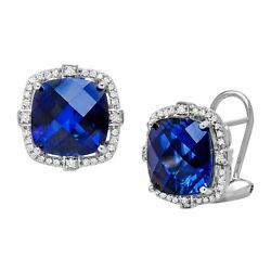 12 ct Created Sapphire and 15 ct Diamond Stud Earrings in Sterling Silver