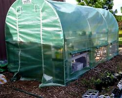 Portable Greenhouse 12'X7' 2 Doors Reinforced PE Cover Grow Plant Walk-in House