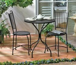 Black Metal Outdoor Patio Furniture Set Round Table With Two Chairs Iron NEW