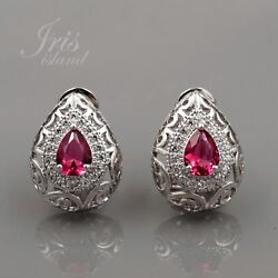 White Gold Plated Red Cubic Zirconia Wedding Omega Back Stud Earrings 00097