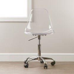Clear Home Office Chair Adjustable Height Swivel Wheels Plastic Back Chrome Base