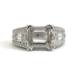 Pave Baguette Diamond Engagement Ring Setting Mounting 14K White Gold 2.45 CTW