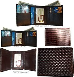 Lot of 5 Italian Style Woven Printed Leather Man'sBrown Trifold walletI ID BNWT