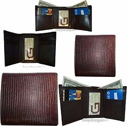 Lot of 5 Italian Style Lizard skin Printed Leather Man's Brown Trifold wallet BN