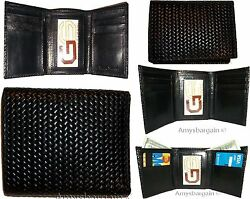 Lot of 5 Italian Style Woven Printed Leather Man's Black Trifold walletI ID BNWT