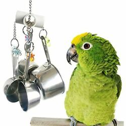Stainless Steel Cup Bell Toys For Birds Heavy Duty Cage For Parrots African