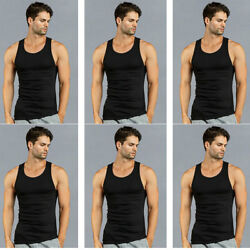 6 PK Mens Black Tank Top 100% Cotton A-Shirt Wife Beater Ribbed Undershirt Pack $20.47