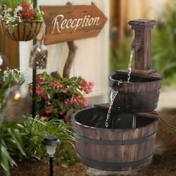 Rustic Three Tier Patio Well Pump Barrel Outdoor Pond Water Fountain Kit C4V6