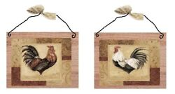 Rooster Pictures Brown Kitchen Wall Hangings Home Decor Plaques Roosters Hen $10.99