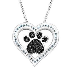 Crystaluxe Paw & Heart Pendant w Swarovski Crystals Sterling Silver-Plated Brass