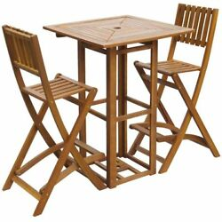 Outdoor Patio Bar Table and Chairs Set Garden Wood Furniture 2 Folding Chairs