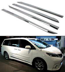 4*Chrome Body Side Door Cover Molding Strip Trim Fit For Toyota Sienna 2011-2016