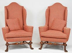 Pair of BAKER Stately Homes Collection Mahogany Wing Chairs Williamsburg Style